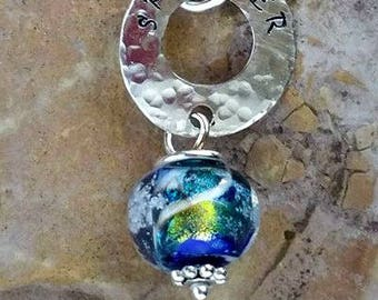 Trillium Inner Circle Memorial Necklace,Ashes in Glass, Cremation Jewelry,Personalized Pet Memorials