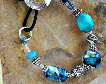 Best Friends Memorial Beaded Bracelet in Leather and Mixed Metals, Ashes in Glass, Cremation Jewelry, Pet Memorials