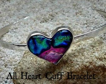 Ashes in Glass Memorial Heart Cuff Bracelet in Sterling Silver, Pet Memorial, Cremation Jewelry