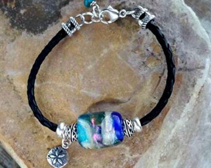 Trillium Barrel Slide Leather Bracelet and Charm, Ashes in Glass, Cremation Jewelry, Pet Memorials