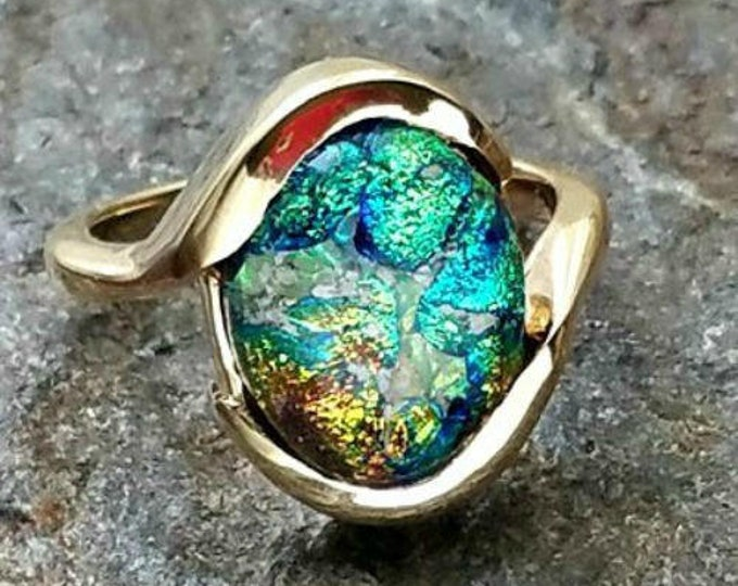 Ashes into Glass Gold Forever Memorial  Ring, Pet Memorial, Cremation Jewelry