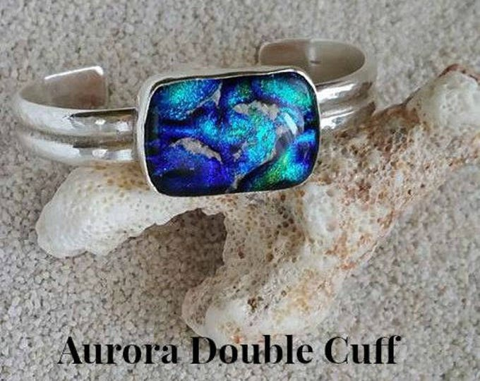 Ashes in Glass Aurora Double Cuff Memorial Bracelet in Sterling Silver, Pet Memorials, Cremation Jewelry