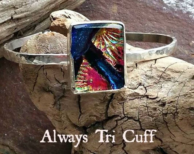 Ashes in Glass Aurora Always Tri Memorial Cuff Bracelet in Sterling Silver, Pet Memorials, Cremation Jewelry