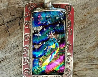 Northern Lights Memorial Pendant in Silver,  Ashes in Glass, Cremation Jewelry, Pet Memorials