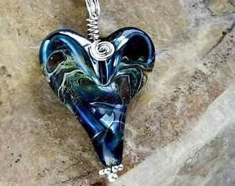 Pet Memorial Heart Necklace, Ashes in Glass, Cremation Jewelry, Silver or Gold
