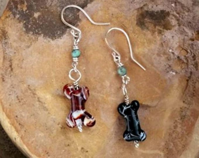 Dog Bone Memorial Earrings, Ashes in Glass, Pet Memorial, Cremation Jewlery