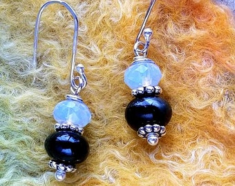 Trillium Moonlight Memorial Earrings, Ashes in Glass, Cremation Jewelry, Pet Memorials