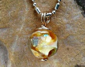 Trillium Petite Galaxy Memorial Necklace in Silver or Gold, Ashes in Glass, Cremation Jewelry, Pet Memorial