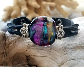 Twisted West Leather Memorial Bracelet, Ashes in Glass, Cremation Jewelry, Pet Memorial