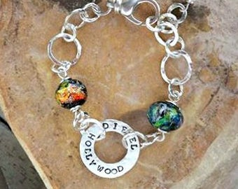 Trillium Buddy Link Bracelet in Sterling Silver, Ashes in Glass, Cremation Jewelry, Pet Memorial