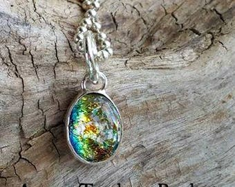 Aurora Teardrop Pet Memorial Necklace, Ashes in Glass, Cremation Jewelry, Silver