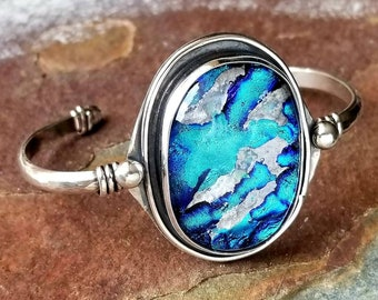 Ashes in Glass Large Memorial Cuff Bracelet, Cremation Jewelry, Pet Memorials