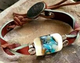 Ashes in Glass, Twisted West Leather Bracelet, Pet Memorial, Cremation Jewelry