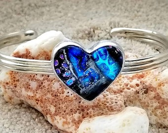 Memorial Heart Cuff Bracelet in Sterling Silver, Ashes in Glass, Cremation Jewelry, Pet Memorial