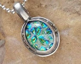 Aurora Enchanted Memorial Necklace in Silver,Ashes in Glass,  Cremation Jewelry,Pet Memorial