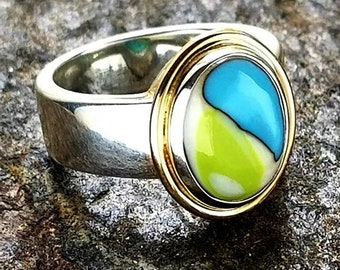 Enchanted Memorial Ring in Silver or 14k Gold or mixed metals,Ashes in Glass, Cremation Jewelry, Pet Memorial