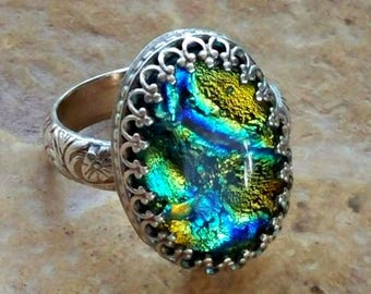Aurora Forest Memorial Ring Sterling Silver, Ashes in Glass, Cremation Jewelry, Pet Memorial