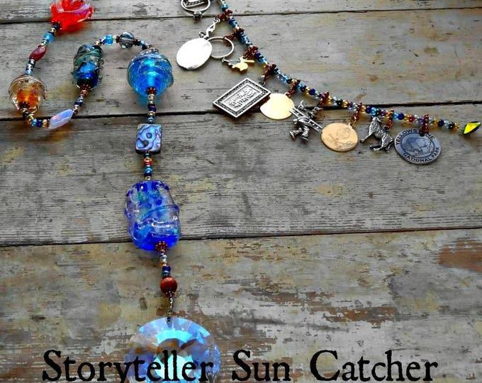 Ashes in Glass Memorial Storyteller Sun Catcher 24 inch, Pet Memorial, Memorial Art