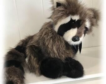 Genuine Fur Racoon Teddy Bear