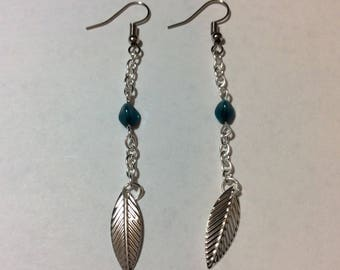 """Earrings """"leaf and triangular bead chained"""""""