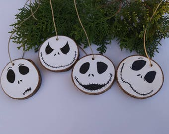 Christmas ornaments , ornament set , hand painted ornament , halloween ornament , pumpkin king ornament , pumpkin ornaments , set of 4 , art