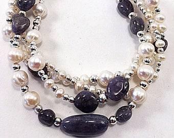 Tanzanite bracelet, beaded wrap bracelet, gemstone bracelet, sterling silver, freshwater pearls, June birthstone, artisan jewelry