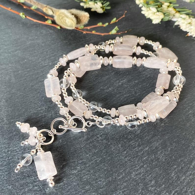 Rose quartz wrap bracelet in sterling silver gift for wife sterling silver gemstone bracelet January birthstone bracelet