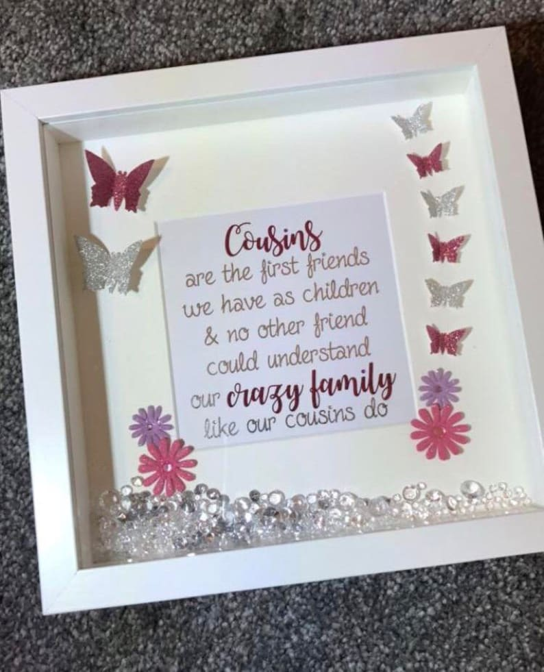 Cousins Glitter Butterfly Quote Box Frame Cousin Gift Etsy