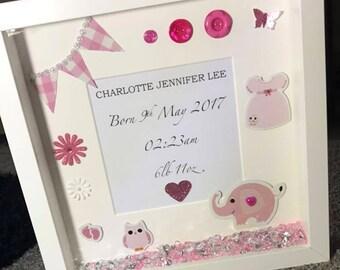 Newborn Baby Girl Box Frame - Newborn Gift - Baby Gift - Nursey Decor