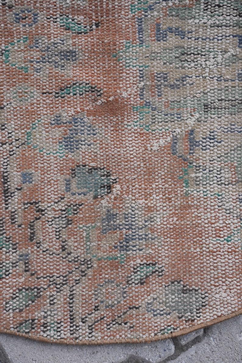 Doormat DC6771 Bohemian rug Circle rug Wool rug Round rug Handmade rug Vintage rug 3.2 x 3.2  ft Bathroom rug Small turkish rug
