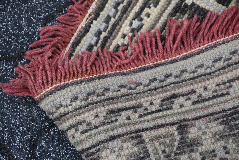 Bohemian Runner Rug Anatolian Runner Rug DC2652 Muted Runner Rug Vintage Hallway Runner Rug Handknotted Rug 4.5 x 10.8 feet farmhouse rug
