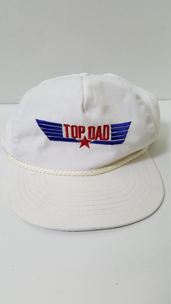 Vintage Top Dad Gun Captain Style White Snapback Cap Hat  633fae097d3f