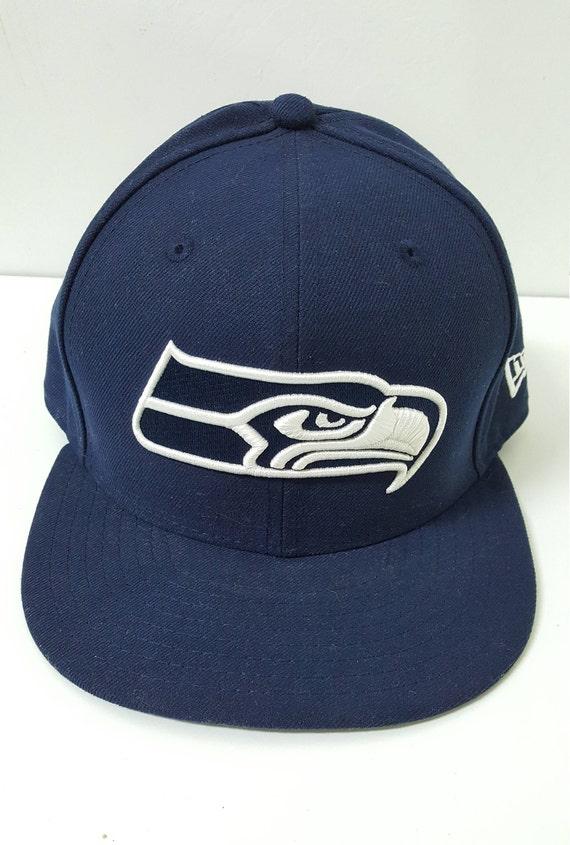 Seattle Seahawks NFL New Era Fitted Cap Navy Blue Size 7 1 8  3b222b90fb1e
