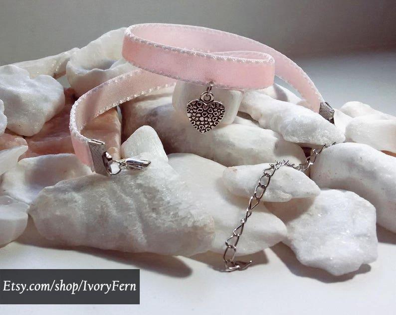 nymphet choker heart necklace heart choker velvet necklace Pink velvet choker silver choker collar lolita choker pink necklace