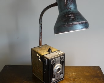 Historic Vintage Bilora Camera Upcycled to Desk Table Lamp
