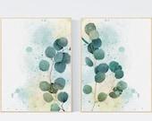 Set of 2 Eucalyptus Wall Art. Botanical Art Print