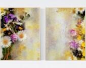 Set of 2 Wild flower Wall Art. Botanical Art Print