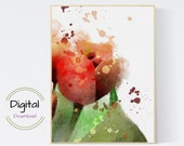 Red Rose Watercolor Wall Art. Botanical Art