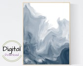 Ocean Paint Pour Wall Art. Printable Wall Art..