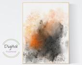 Watercolor Orange abstract art printable.