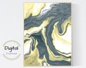 Yellow and gray pouring. Printable Wall Art.