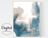 Nautical Printable Art. Abstract ocean landscape.