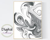 Paint Pour abstract Printable Wall Art.