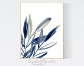 Blue Watercolor Leaves. Botanical Wall art