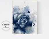 Blue Rose Watercolor Printable. Botanical Wall art
