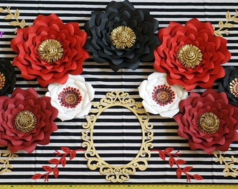 Red Paper Flowers Etsy