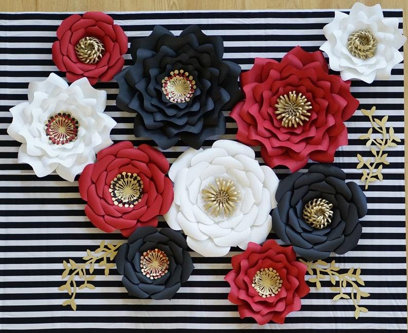 6bbee6f9a0d Custom Paper Flowers Set Red Black White Gold Flower Nursery