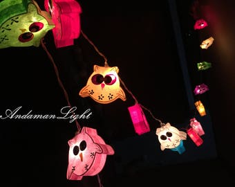20 Owl Mulberry Paper String Lights For Home Decoration,wedding Patio,indoor  String Lights,bedroom Fairy Lights,bedroom String Lights