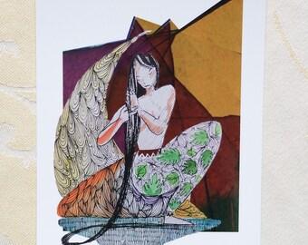 """Grande carte postale Illustration """"La Tisseuse de tresse"""""""