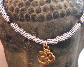 Blue and white with gold Om necklace